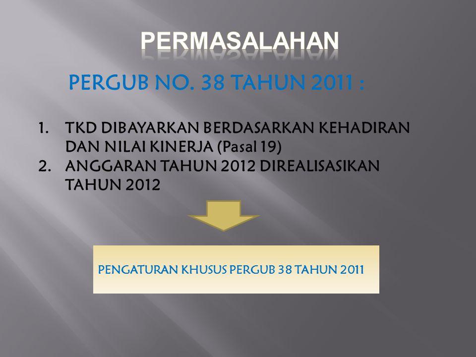 1.TKD DIBAYARKAN BERDASARKAN KEHADIRAN DAN NILAI KINERJA (Pasal 19) 2.ANGGARAN TAHUN 2012 DIREALISASIKAN TAHUN 2012 PERGUB NO. 38 TAHUN 2011 : PENGATU