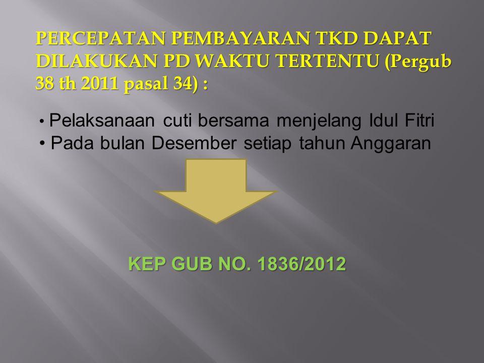 PERCEPATAN PEMBAYARAN TKD DAPAT DILAKUKAN PD WAKTU TERTENTU (Pergub 38 th 2011 pasal 34) : Pelaksanaan cuti bersama menjelang Idul Fitri Pada bulan De