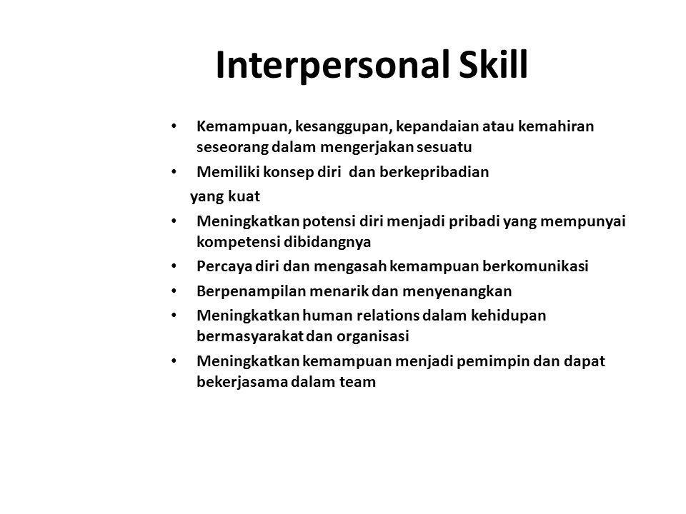 Interpersonal Skill Merupakan salah satu soft skill yang banyak diminta oleh perusahaan untuk berbagai jabatan dan posisi Interpersonal Skill bukan merupakan bagian dari karakter kepribadian yang bersifat bawaan, melainkan merupakan ketrampilan yang bisa dipelajari Interpersonal Skill yang baik dapat dibangun dari kemampuan mengembangkan perilaku dan komunikasi yang asertif dan efektif