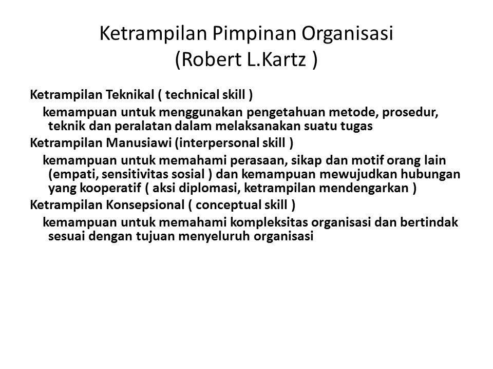Ketrampilan Pimpinan Organisasi (Robert L.Kartz ) Ketrampilan Teknikal ( technical skill ) kemampuan untuk menggunakan pengetahuan metode, prosedur, t