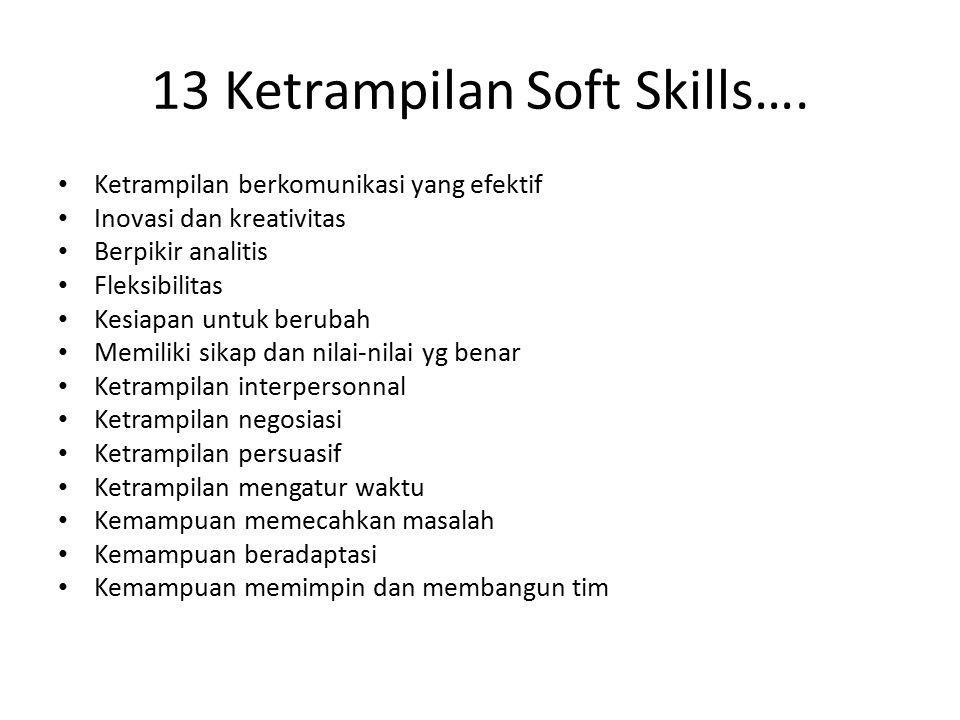 13 Ketrampilan Soft Skills…. Ketrampilan berkomunikasi yang efektif Inovasi dan kreativitas Berpikir analitis Fleksibilitas Kesiapan untuk berubah Mem