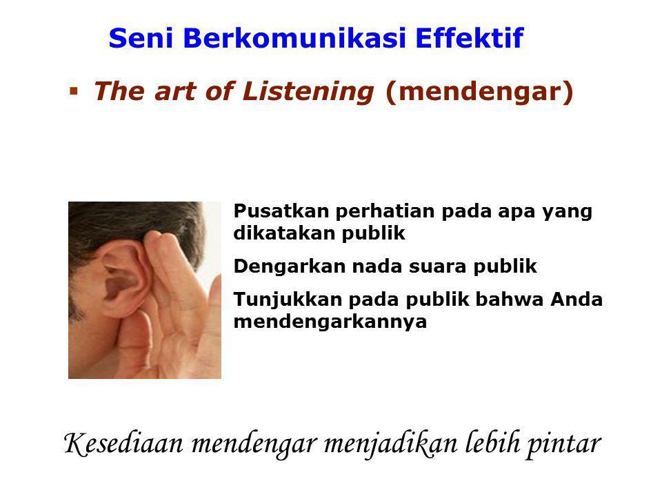 Seni Berkomunikasi Effektif  The art of Answering (menjawab) Hindari menjawab publik dengan memberikan janji kosong Tahan diri untuk tidak memotong pembicaraan publik Berikanlah jawaban yang lengkap dan jelas Jawaban pasti tentu lebih berarti