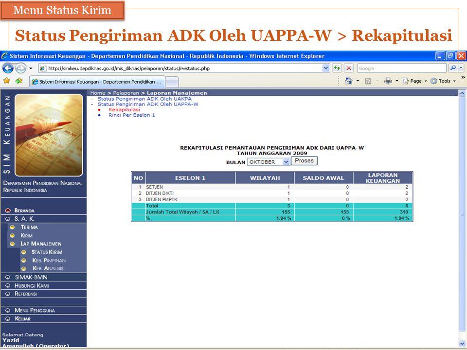 Status Pengiriman ADK Oleh UAPPA-W > Rekapitulasi Menu Status Kirim