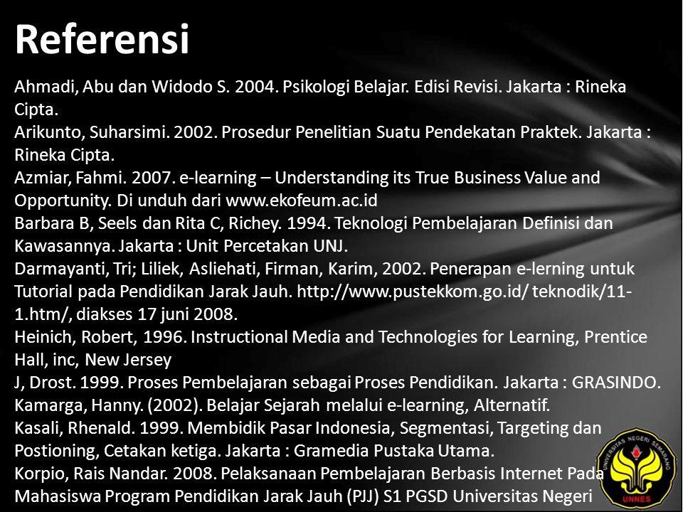 Referensi Ahmadi, Abu dan Widodo S. 2004. Psikologi Belajar.