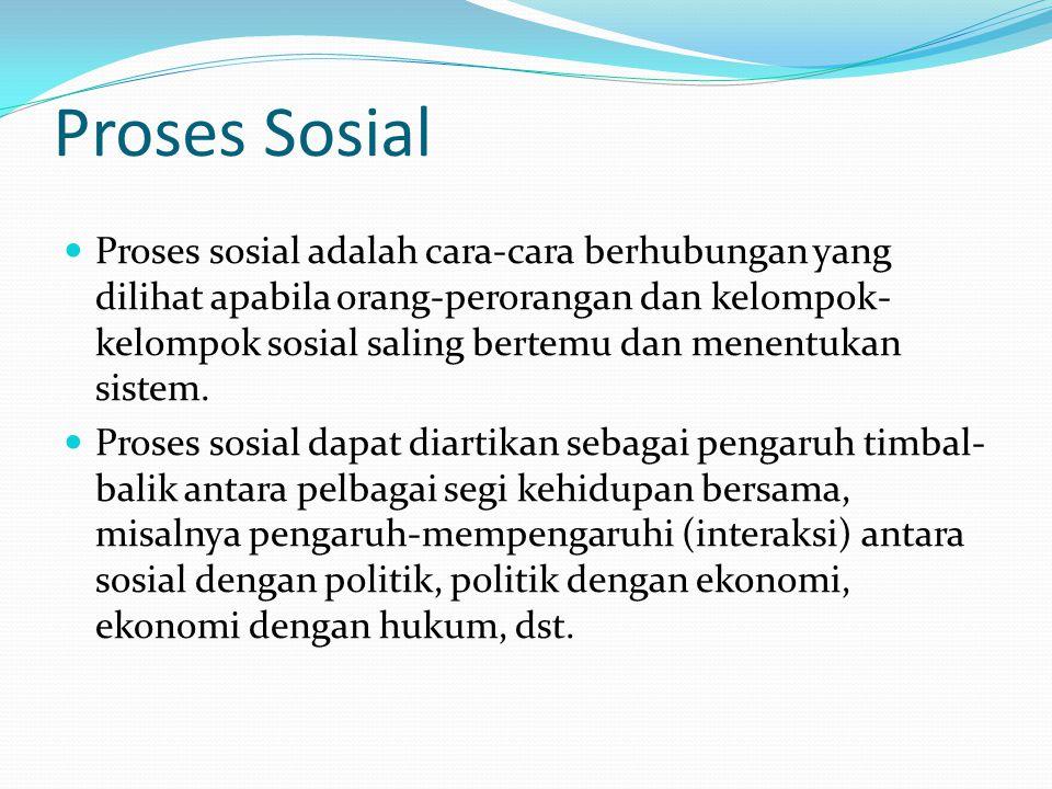 Proses Sosial Proses sosial adalah cara-cara berhubungan yang dilihat apabila orang-perorangan dan kelompok- kelompok sosial saling bertemu dan menent