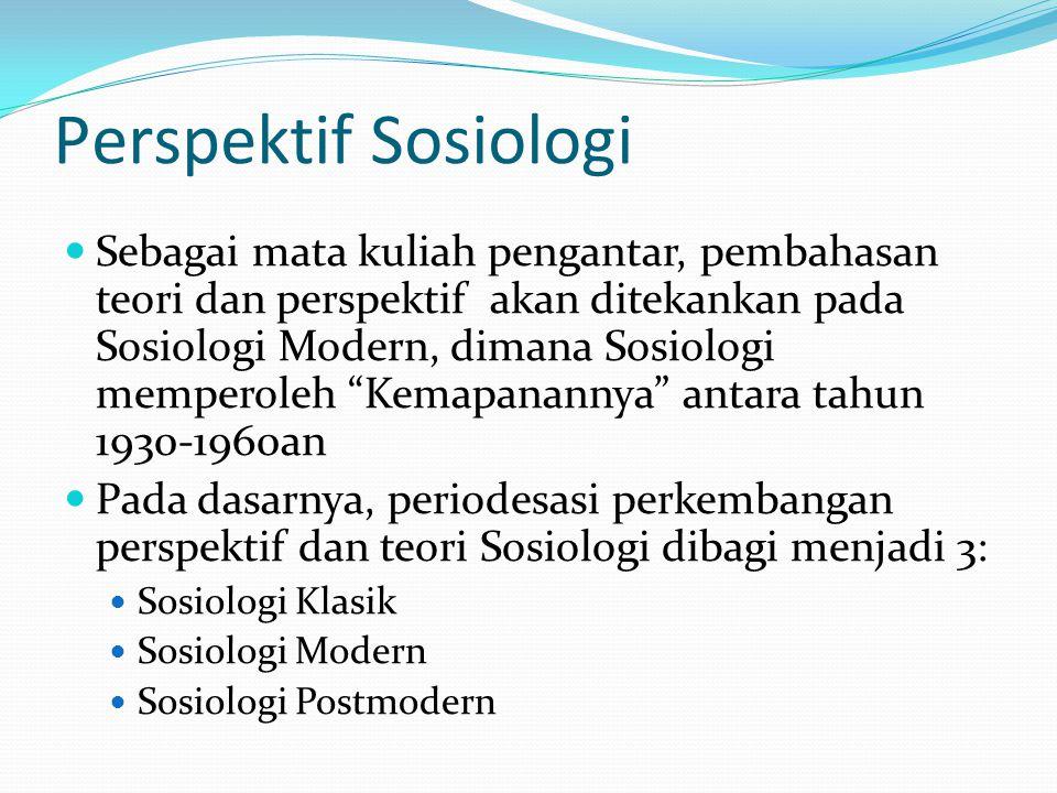 Perspektif Sosiologi Sebagai mata kuliah pengantar, pembahasan teori dan perspektif akan ditekankan pada Sosiologi Modern, dimana Sosiologi memperoleh