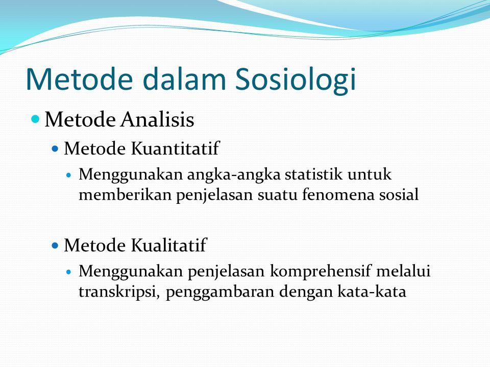 Metode dalam Sosiologi Metode Analisis Metode Kuantitatif Menggunakan angka-angka statistik untuk memberikan penjelasan suatu fenomena sosial Metode K