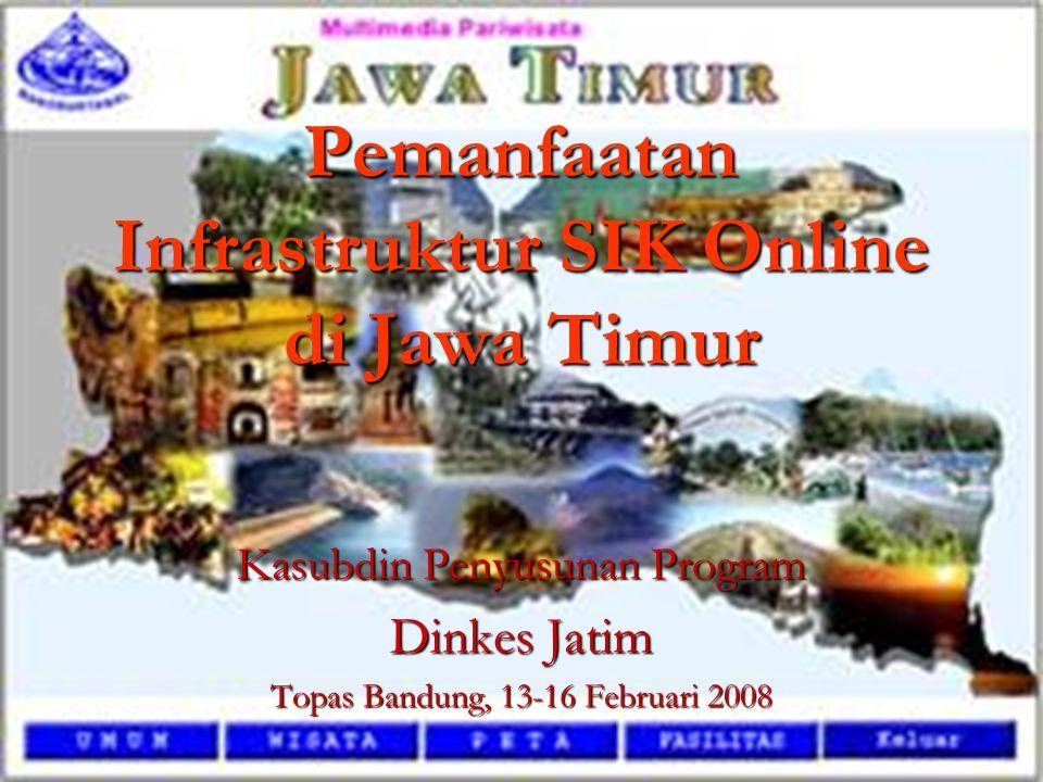 Pemanfaatan Infrastruktur SIK Online di Jawa Timur Kasubdin Penyusunan Program Dinkes Jatim Topas Bandung, 13-16 Februari 2008