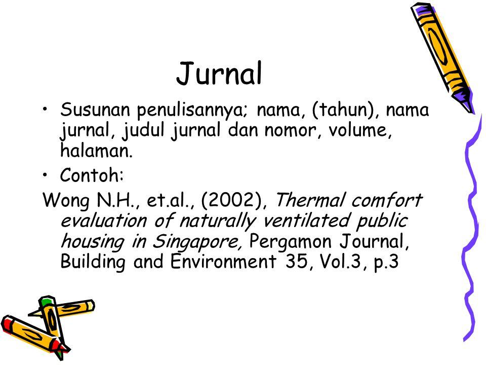 Jurnal Susunan penulisannya; nama, (tahun), nama jurnal, judul jurnal dan nomor, volume, halaman. Contoh: Wong N.H., et.al., (2002), Thermal comfort e