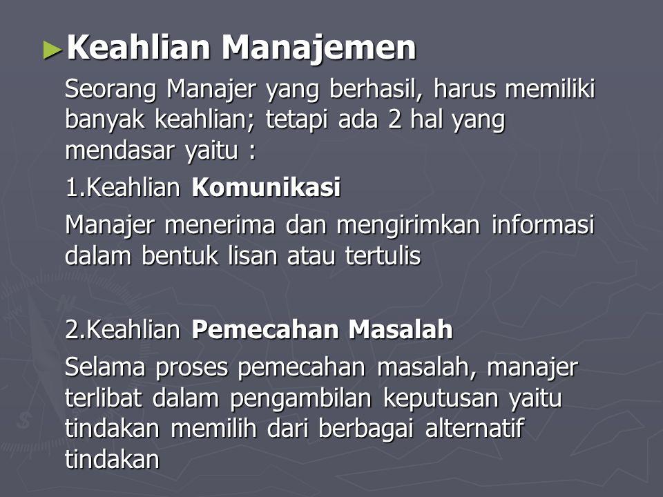 ► Keahlian Manajemen Seorang Manajer yang berhasil, harus memiliki banyak keahlian; tetapi ada 2 hal yang mendasar yaitu : 1.Keahlian Komunikasi Manaj