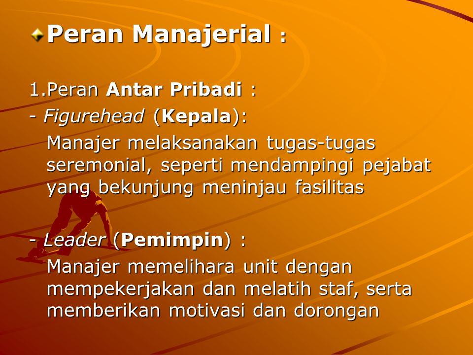 Peran Manajerial : 1.Peran Antar Pribadi : - Figurehead (Kepala): Manajer melaksanakan tugas-tugas seremonial, seperti mendampingi pejabat yang bekunjung meninjau fasilitas - Leader (Pemimpin) : Manajer memelihara unit dengan mempekerjakan dan melatih staf, serta memberikan motivasi dan dorongan