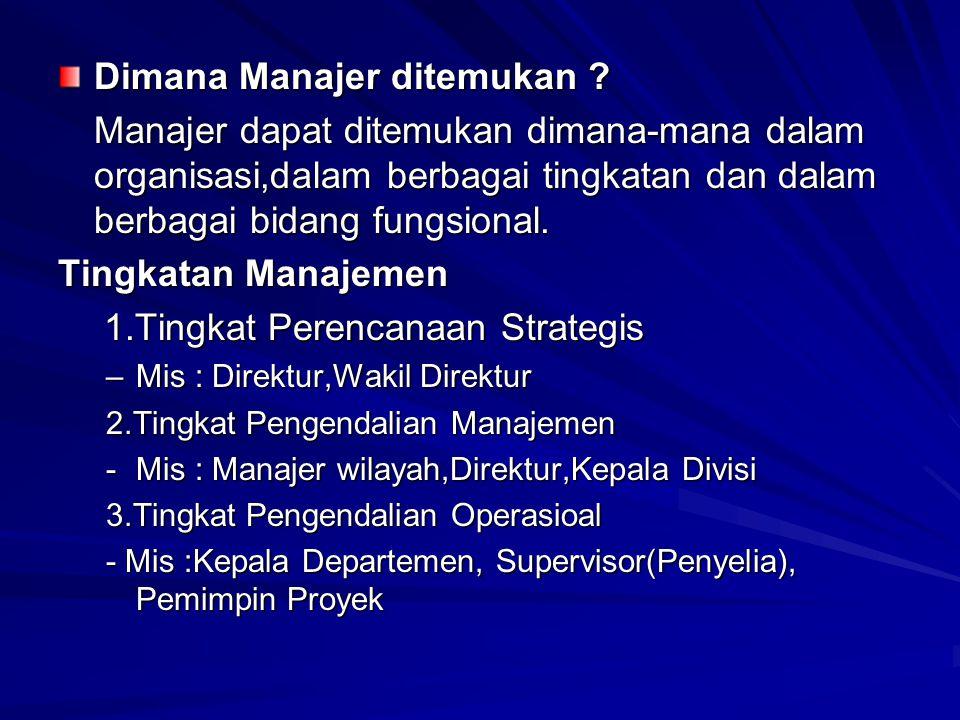 Dimana Manajer ditemukan ? Manajer dapat ditemukan dimana-mana dalam organisasi,dalam berbagai tingkatan dan dalam berbagai bidang fungsional. Tingkat