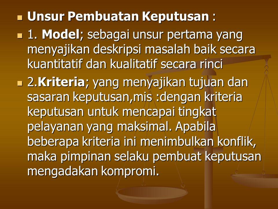 Unsur Pembuatan Keputusan : Unsur Pembuatan Keputusan : 1. Model; sebagai unsur pertama yang menyajikan deskripsi masalah baik secara kuantitatif dan