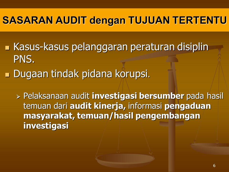 SASARAN AUDIT dengan TUJUAN TERTENTU Kasus-kasus pelanggaran peraturan disiplin PNS.