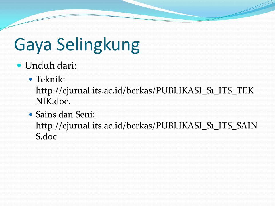 Gaya Selingkung Unduh dari: Teknik: http://ejurnal.its.ac.id/berkas/PUBLIKASI_S1_ITS_TEK NIK.doc. Sains dan Seni: http://ejurnal.its.ac.id/berkas/PUBL