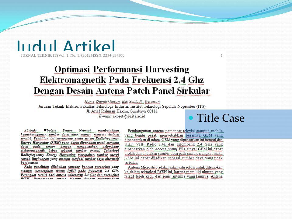 Judul Artikel Title Case