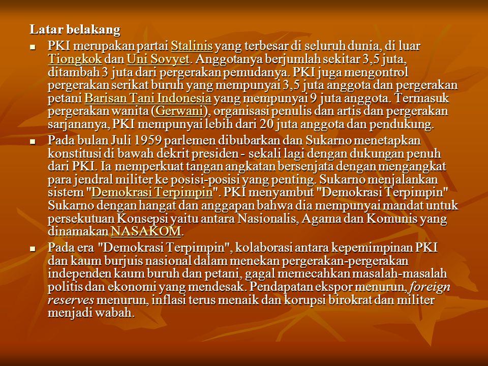 Pada tanggal 12 Oktober 1965, pemimpin-pemimpin Uni-Sovyet Brezhnev, Mikoyan dan Kosygin mengirim pesan khusus untuk Sukarno: Kita dan rekan-rekan kita bergembira untuk mendengar bahwa kesehatan Anda telah membaik...Kita mendengar dengan penuh minat tentang pidato anda di radio kepada seluruh rakyat Indonesia untuk tetap tenang dan menghindari kekacauan...Imbauan ini akan dimengerti secara mendalam. Pada tanggal 12 Oktober 1965, pemimpin-pemimpin Uni-Sovyet Brezhnev, Mikoyan dan Kosygin mengirim pesan khusus untuk Sukarno: Kita dan rekan-rekan kita bergembira untuk mendengar bahwa kesehatan Anda telah membaik...Kita mendengar dengan penuh minat tentang pidato anda di radio kepada seluruh rakyat Indonesia untuk tetap tenang dan menghindari kekacauan...Imbauan ini akan dimengerti secara mendalam. 12 Oktober BrezhnevMikoyanKosygin12 Oktober BrezhnevMikoyanKosygin Dalam sebuah Konferensi Tiga Benua di Havana di bulan Februari 1966, perwakilan Uni-Sovyet berusaha dengan segala kemampuan mereka untuk menghindari pengutukan atas penangkapan dan pembunuhan orang-orang yang dituduh sebagai PKI, yang sedang terjadi terhadap rakyat Indonesia.
