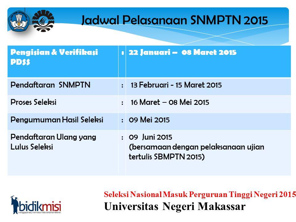 Seleksi Nasional Masuk Perguruan Tinggi Negeri 2015 Universitas Negeri Makassar 3.Urutan pilihan PTN dan program studi menyatakan prioritas pilihan. 4