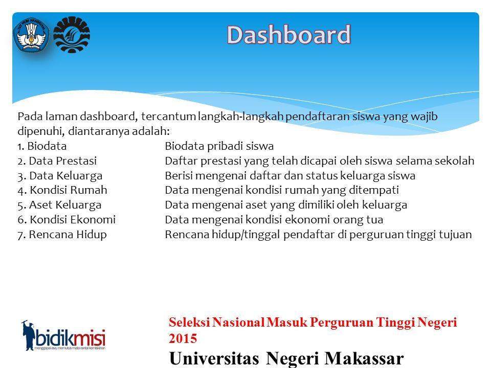 Seleksi Nasional Masuk Perguruan Tinggi Negeri 2015 Universitas Negeri Makassar Untuk masuk kedalam dashboard Siswa, ikuti langkah-langkah dibawah. 1.