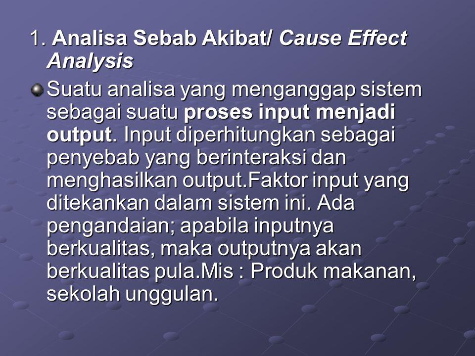 1. Analisa Sebab Akibat/ Cause Effect Analysis Suatu analisa yang menganggap sistem sebagai suatu proses input menjadi output. Input diperhitungkan se