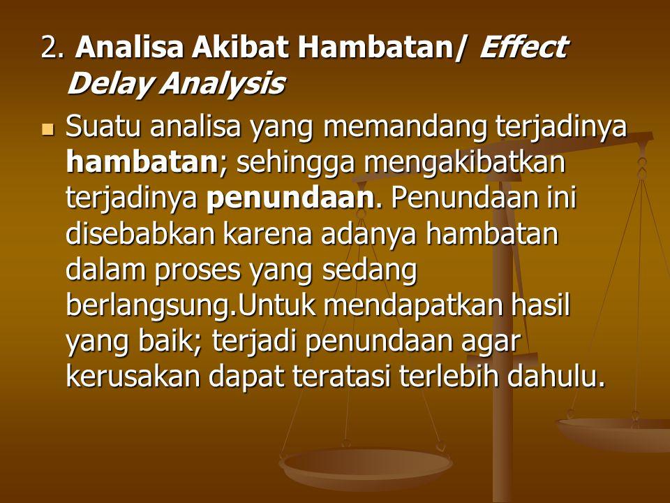 2. Analisa Akibat Hambatan/ Effect Delay Analysis Suatu analisa yang memandang terjadinya hambatan; sehingga mengakibatkan terjadinya penundaan. Penun