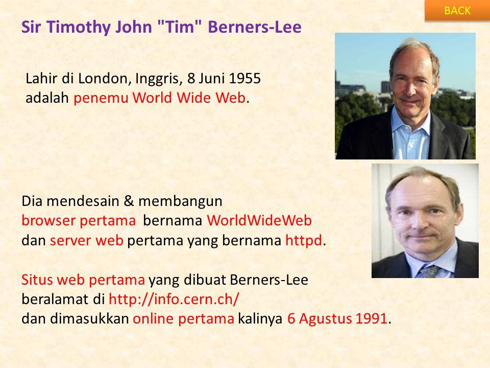 Sir Timothy John Tim Berners-Lee BACK Lahir di London, Inggris, 8 Juni 1955 adalah penemu World Wide Web.