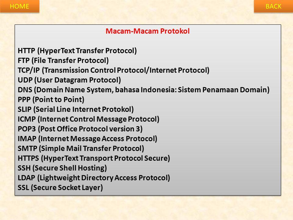 BACK HOME Macam-Macam Protokol HTTP (HyperText Transfer Protocol) FTP (File Transfer Protocol) TCP/IP (Transmission Control Protocol/Internet Protocol