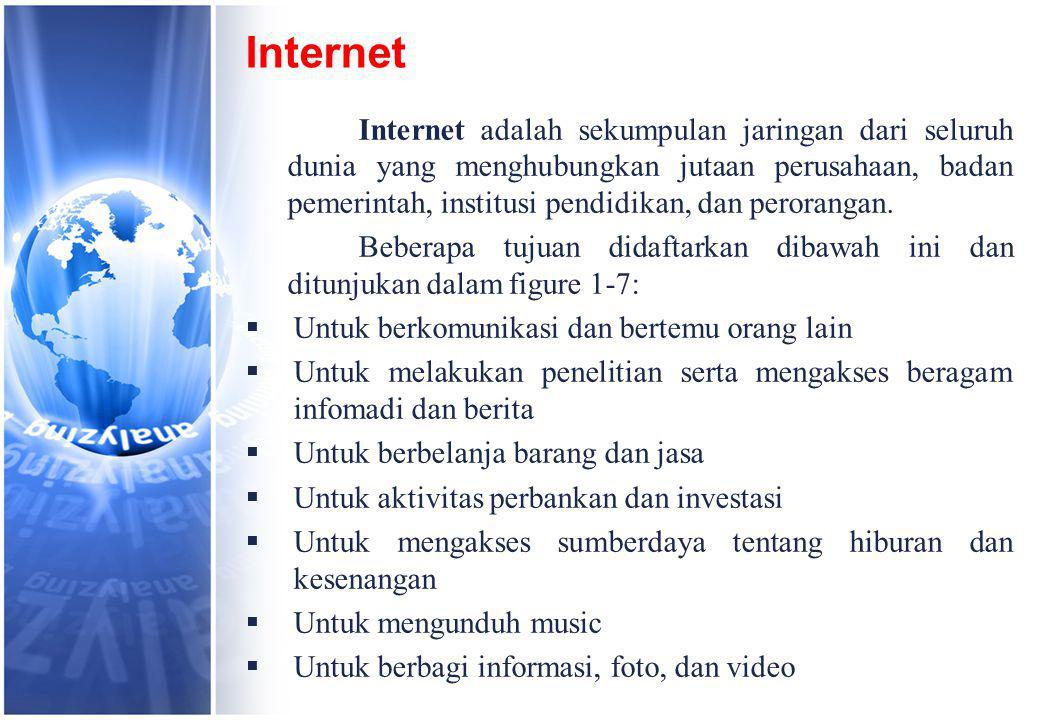 Internet Internet adalah sekumpulan jaringan dari seluruh dunia yang menghubungkan jutaan perusahaan, badan pemerintah, institusi pendidikan, dan perorangan.