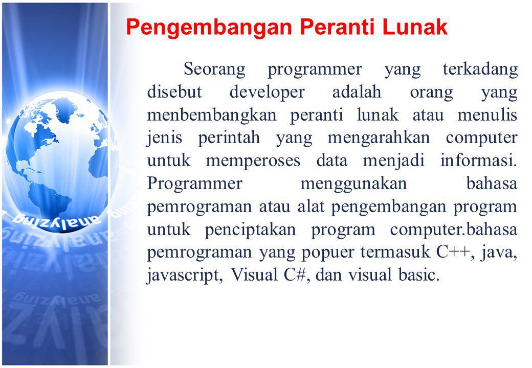 Pengembangan Peranti Lunak Seorang programmer yang terkadang disebut developer adalah orang yang menbembangkan peranti lunak atau menulis jenis perintah yang mengarahkan computer untuk memperoses data menjadi informasi.