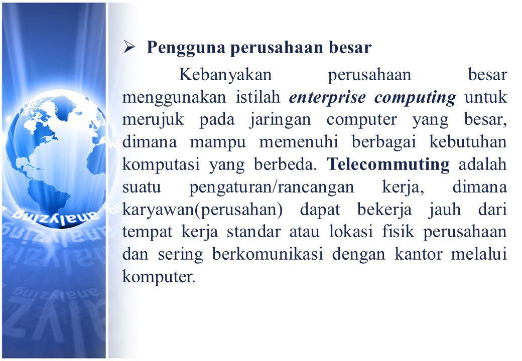  Pengguna perusahaan besar Kebanyakan perusahaan besar menggunakan istilah enterprise computing untuk merujuk pada jaringan computer yang besar, dimana mampu memenuhi berbagai kebutuhan komputasi yang berbeda.