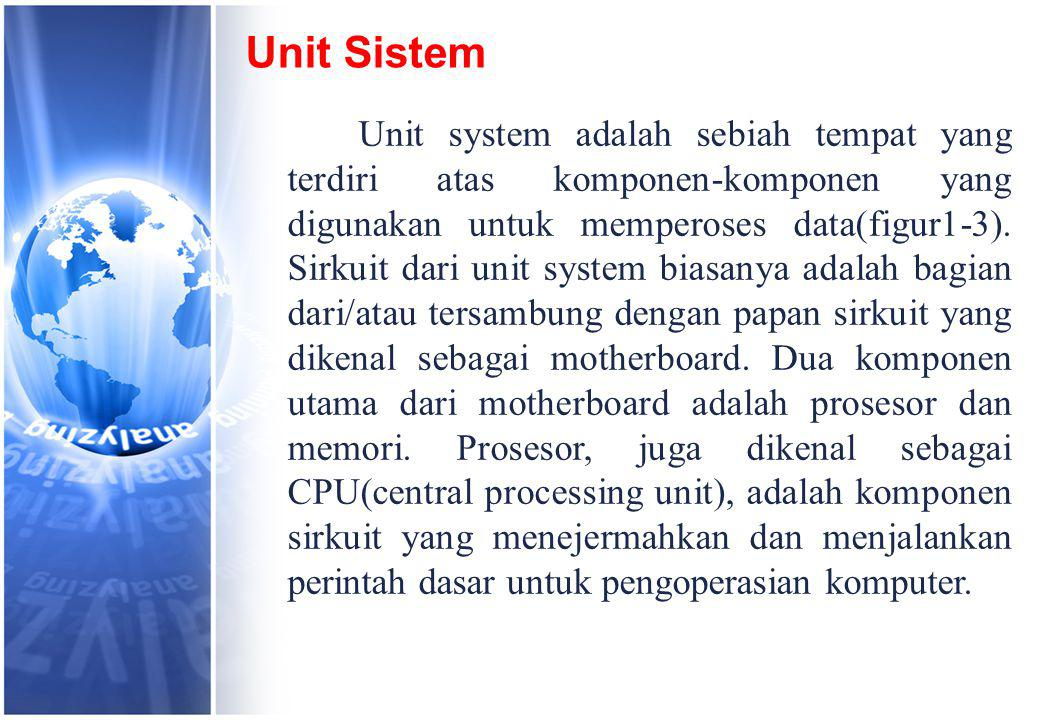 Unit Sistem Unit system adalah sebiah tempat yang terdiri atas komponen-komponen yang digunakan untuk memperoses data(figur1-3).