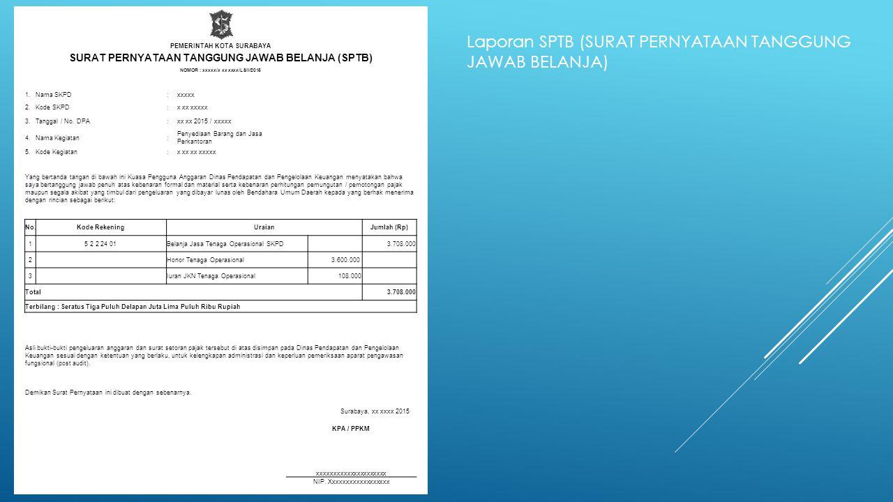 CHECKLIST PEMERINTAH KOTA SURABAYA PENELITIAN KELENGKAPAN DOKUMEN SPP TAHUN ANGGARAN : 2015 SPP LS - khusus pengadaan barang dan jasa v Surat Pengantar SPP v Ringkasan SPP v Rincian SPP v Salinan SPD Salinan Surat Rekomendasi dari SKPD teknis terkait v SSP disertai faktur pajak (PPN dan PPh) yang telah ditandatangani wajib pajak dan wajib pungut Surat perjanjian kerjasama/kontrak antara pengguna anggaran/kuasa pengguna anggaran dengan pihak ketiga serta mencantumkan nomor rekening bank (dibuktikan dengan referensi bank yang diterbitkan pada Tahun Anggaran berkenaan, untuk kepentingan mengikuti pekerjaan di Pemerintah Kota Surabaya) pihak ketiga Berita Acara penyelesaian pekerjaan Berita Acara serah terima barang dan jasa Berita Acara Pembayaran Kwitansi bermaterai, nota/faktur yang ditandatangani pihak ketiga dan PPTK serta disetujui oleh pengguna anggaran/kuasa pengguna anggaran Surat jaminan bank atau yang dipersamakan yang dikeluarkan oleh bank atau lembaga keuangan non bank Dokumen lain yang dipersyaratkan untuk kontrak-kontrak yang dananya sebagian atau seluruhnya bersumber dari penerusan pinjaman/hibah luar negeri Berita Acara pemeriksaan yang ditandatangani oleh pihak ketiga/rekanan serta unsur panitia pemeriksaan barang berikut lampiran daftar barang yang diperiksa Surat angkutan atau konosemen apabila pengadaan barang dilaksanakan diluar wilayah kerja Surat pemberitahuan potongan denda keterlambatan pekerjaan dari PPTK apabila pekerjaan mengalami keterlambatan Foto/Buku/Dokumentasi tingkat kemajuan/penyelesaian pekerjaan Potongan jamsostek (potongan sesuai dengan ketentuan yang berlaku/surat pemberitahuan jamsostek) Khusus untuk pekerjaan konsultan yang perhitungan harganya menggunakan biaya personil (billing rate), Berita Acara prestasi kemajuan pekerjaan dilampiri dengan bukti kehadiran dari tenaga konsultan sesuai pentahapan waktu pekerjaan dan bukti penyewaan/pembelian alat penunjang serta bukti pengeluaran lainnya berdasarkan rincian dalam surat penawa