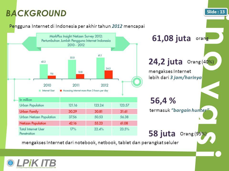 Slide : 13 Pengguna Internet di Indonesia per akhir tahun 2012 mencapai BACKGROUND mengakses Internet dari notebook, netbook, tablet dan perangkat sel