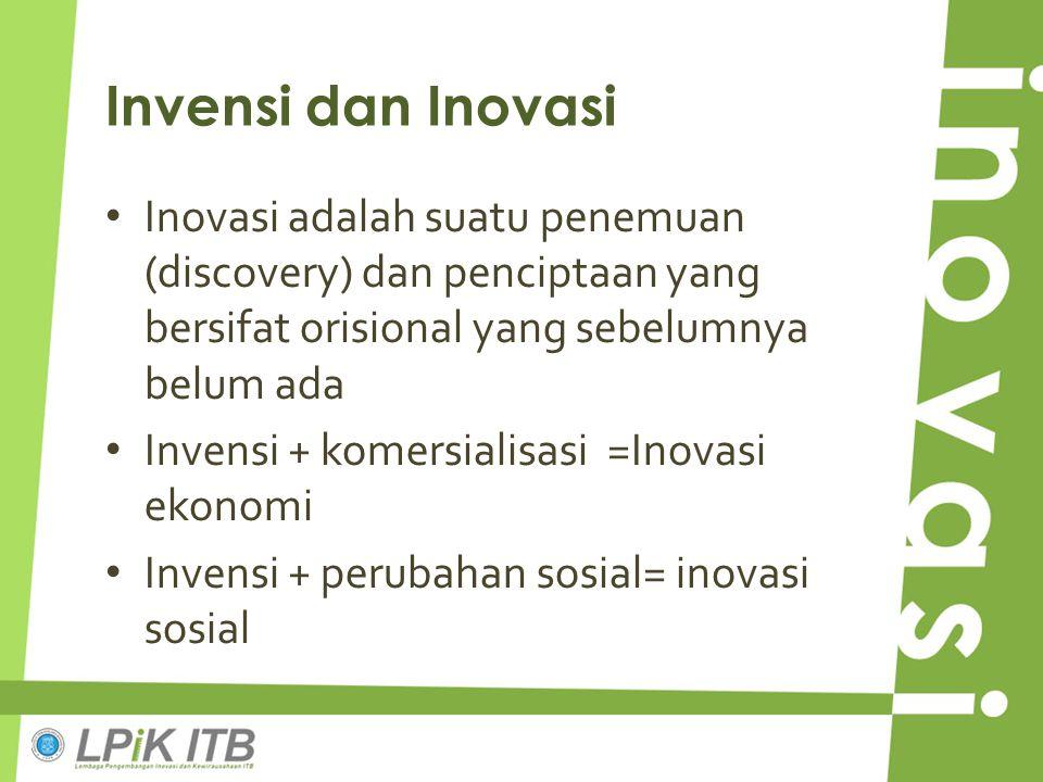 Invensi dan Inovasi Inovasi adalah suatu penemuan (discovery) dan penciptaan yang bersifat orisional yang sebelumnya belum ada Invensi + komersialisas
