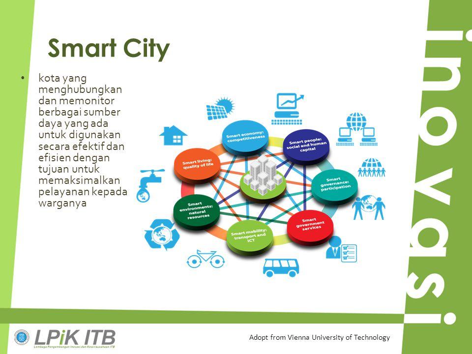 Smart City kota yang menghubungkan dan memonitor berbagai sumber daya yang ada untuk digunakan secara efektif dan efisien dengan tujuan untuk memaksim