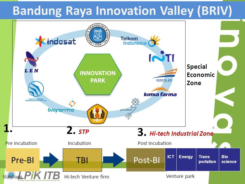 Pre-BI TBI Post-BI ICTEnergyTrans portation Bio science Pre IncubationIncubationPost Incubation Venture park Start-upsHi-tech Venture firm 1. 2. STP 3