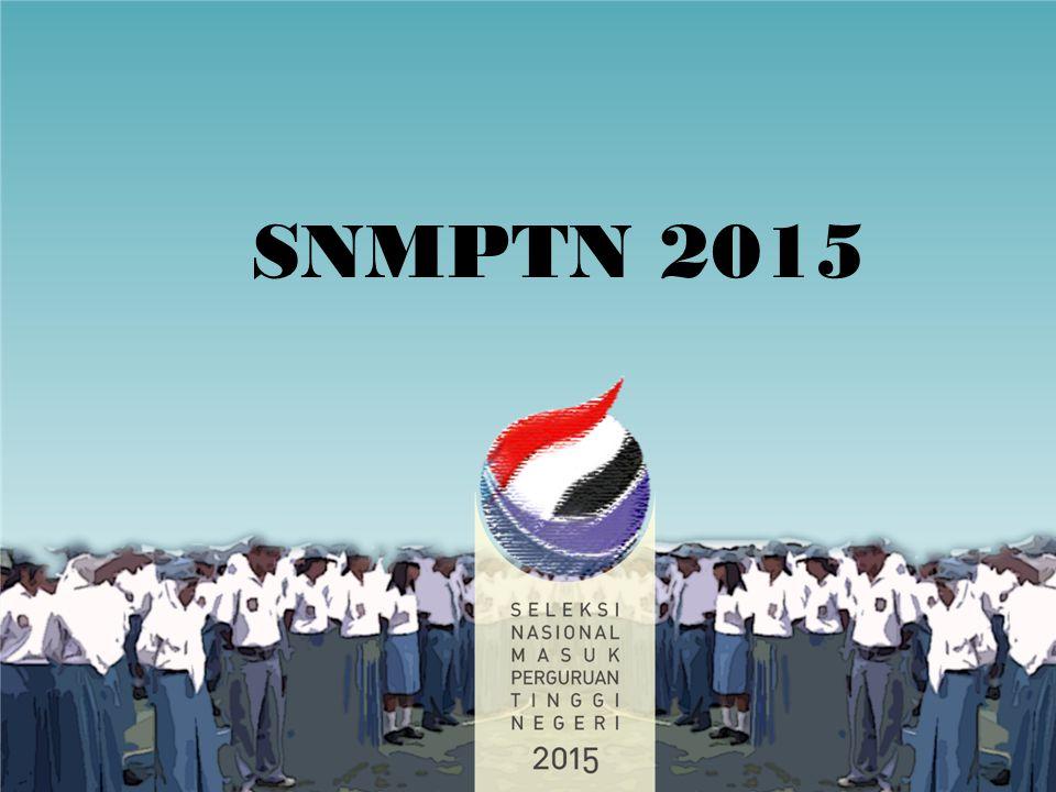POLA PENERIMAAN MAHASISWA BARU PROGRAM SARJANA PADA PTN 2015 MAHASISWA BARU PROGRAM SARJANA PTN 2015 MAHASISWA BARU PROGRAM SARJANA PTN 2015 SELEKSI NASIONAL (SNMPTN) SELEKSI NASIONAL (SNMPTN) SELEKSI MANDIRI BERSAMA (SBMPTN) SELEKSI MANDIRI BERSAMA (SBMPTN) SELEKSI MANDIRI PTN SELEKSI MANDIRI SNMPTN = SELEKSI NASIONAL MASUK PERGURUAN TINGGI NEGERI SBMPTN = SELEKSI BERSAMA MASUK PERGURUAN TINGGI NEGERI 2