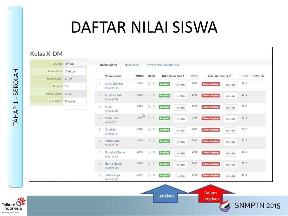 DAFTAR NILAI SISWA TAHAP 1 - SEKOLAH Lengkap Belum Lengkap