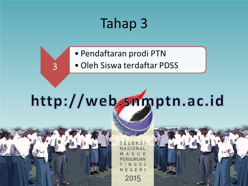 Tahap 3 3 Pendaftaran prodi PTN Oleh Siswa terdaftar PDSS