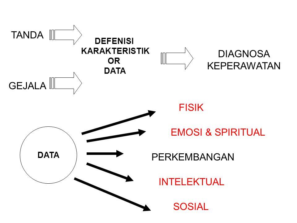 TANDA GEJALA DEFENISI KARAKTERISTIK OR DATA DIAGNOSA KEPERAWATAN DATA SOSIALINTELEKTUALPERKEMBANGANFISIKEMOSI & SPIRITUAL