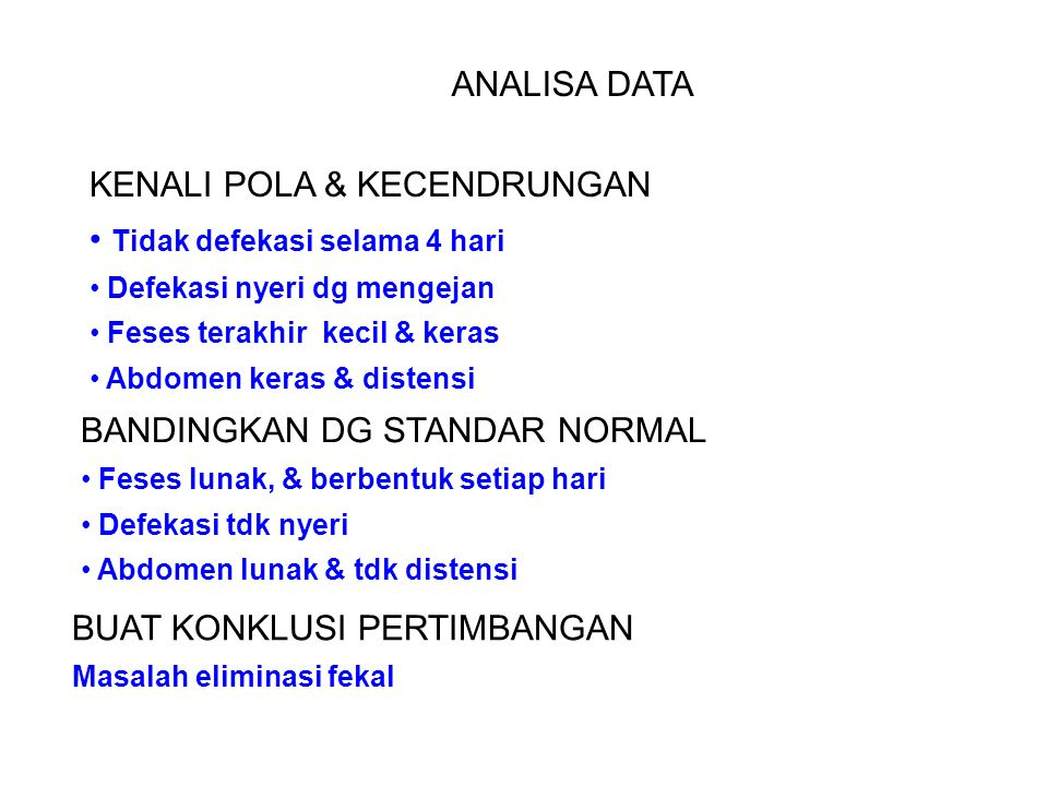 LANGKAH MENENTUKAN DIAGNOSA KEPERAWATAN 1.Klasifikasi & analisis data 2.Interpretasi data 3.Validasi data 4.Perumusan dx keperawatan PENGELOMPOKAN DAT