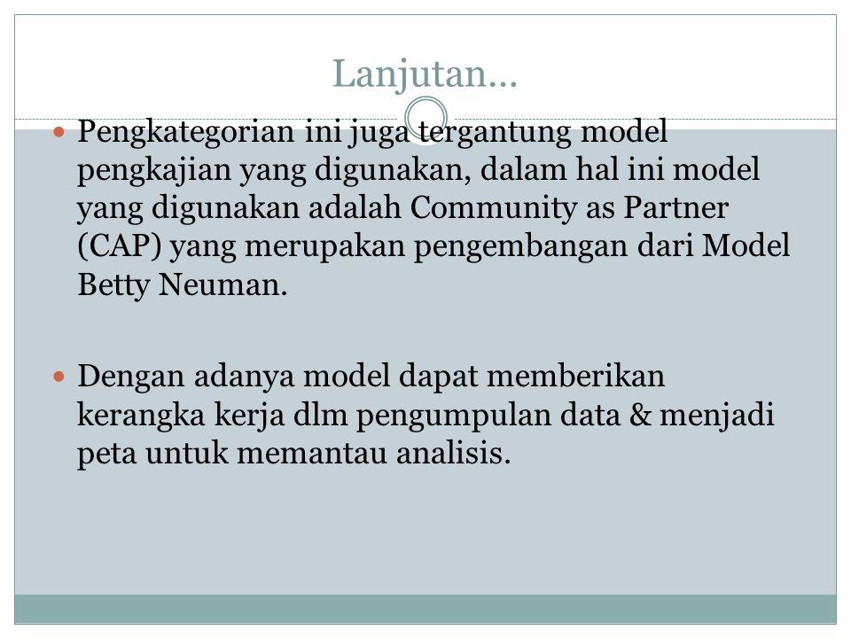 Lanjutan… Pengkategorian ini juga tergantung model pengkajian yang digunakan, dalam hal ini model yang digunakan adalah Community as Partner (CAP) yang merupakan pengembangan dari Model Betty Neuman.