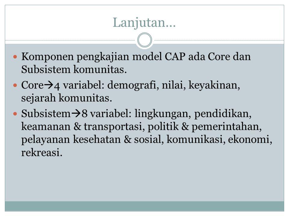 Lanjutan… Komponen pengkajian model CAP ada Core dan Subsistem komunitas. Core  4 variabel: demografi, nilai, keyakinan, sejarah komunitas. Subsistem