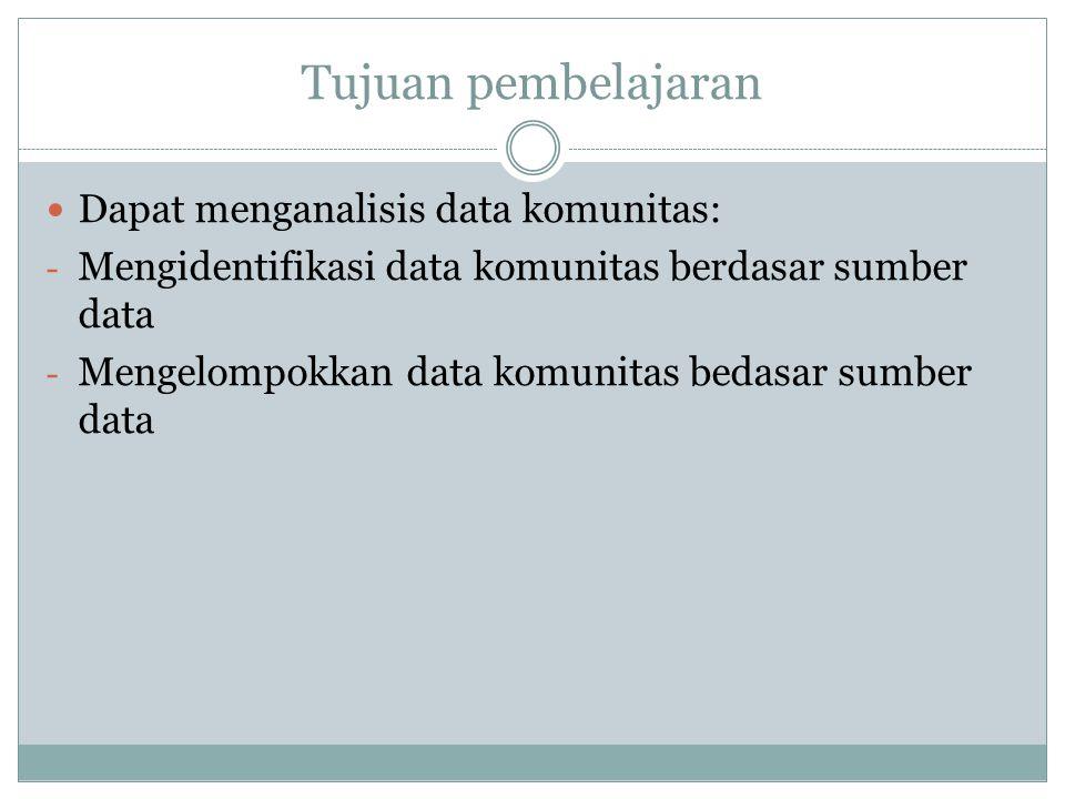 Tujuan pembelajaran Dapat menganalisis data komunitas: - Mengidentifikasi data komunitas berdasar sumber data - Mengelompokkan data komunitas bedasar sumber data