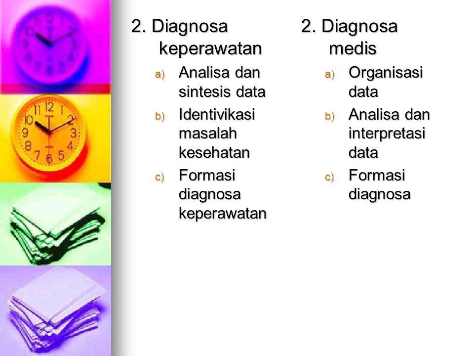 Perbandingan proses keperawatan dan medis PROSES KEPERAWATAN 1. Pengkajian Mengumpulkan data dari : a) Riwayat keperawatan b) Pemeriksaan fisik c) Tin