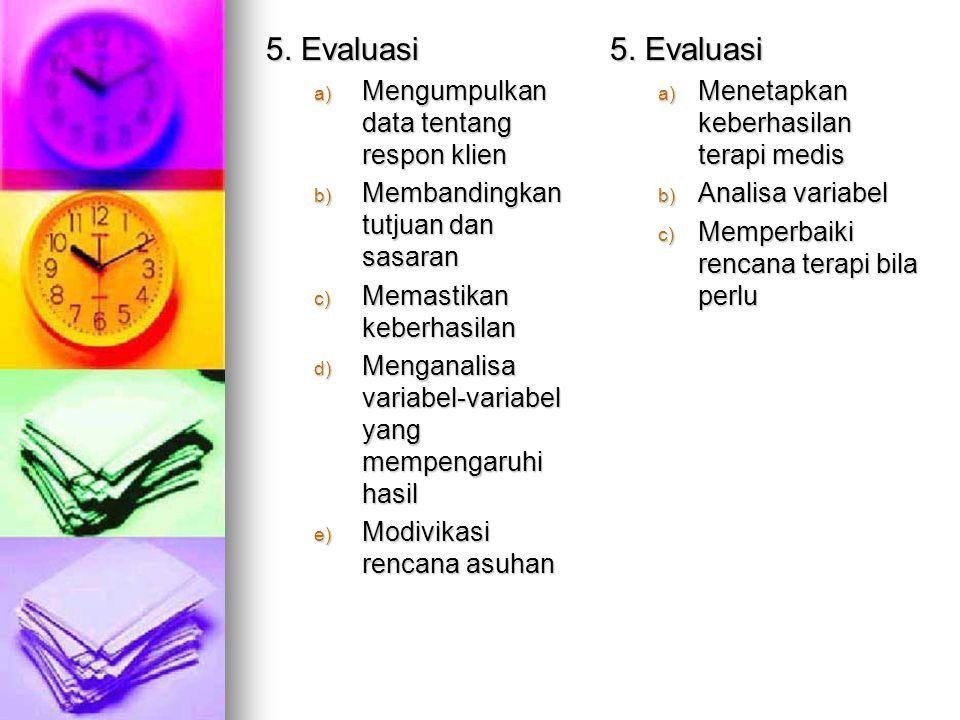 4. Implementasi a) Strategi sebagai implementas i b) Implementa si c) Strategi setelah implementas i 4. Terapi a) Instruksi dokter b) Terapi medis c)