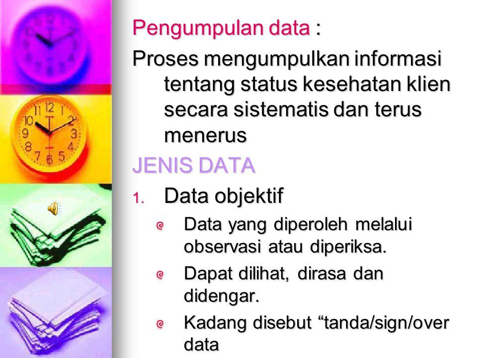 Data : semua informasi yang relevan tentang klien, terdiri dari informasi fakta, dan penemuan-penemuan, mencakup kekuatan-kekuatan, dan kebutuhan hidu