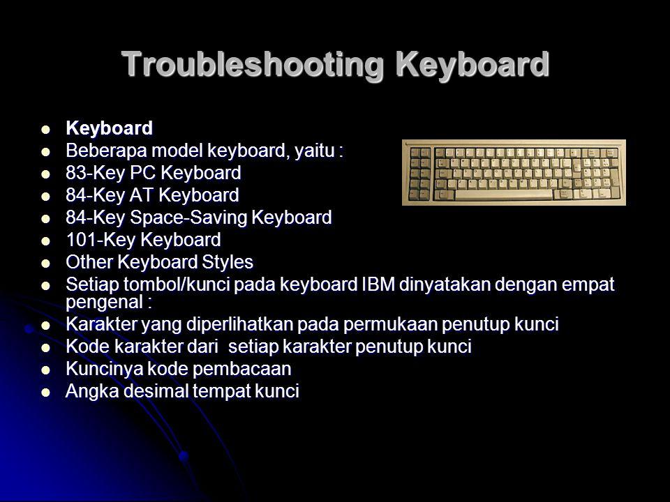 Troubleshooting Keyboard Keyboard Keyboard Beberapa model keyboard, yaitu : Beberapa model keyboard, yaitu : 83-Key PC Keyboard 83-Key PC Keyboard 84-