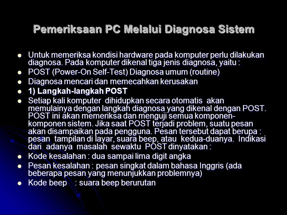 Pemeriksaan PC Melalui Diagnosa Sistem 2) Pesan Kesalahan Selama POST 2) Pesan Kesalahan Selama POST a)Test 1 (Basic System Error),sistemterhenti dengan tanpa tampilan dan suara beep, walaupun kursor mungkin nampak.