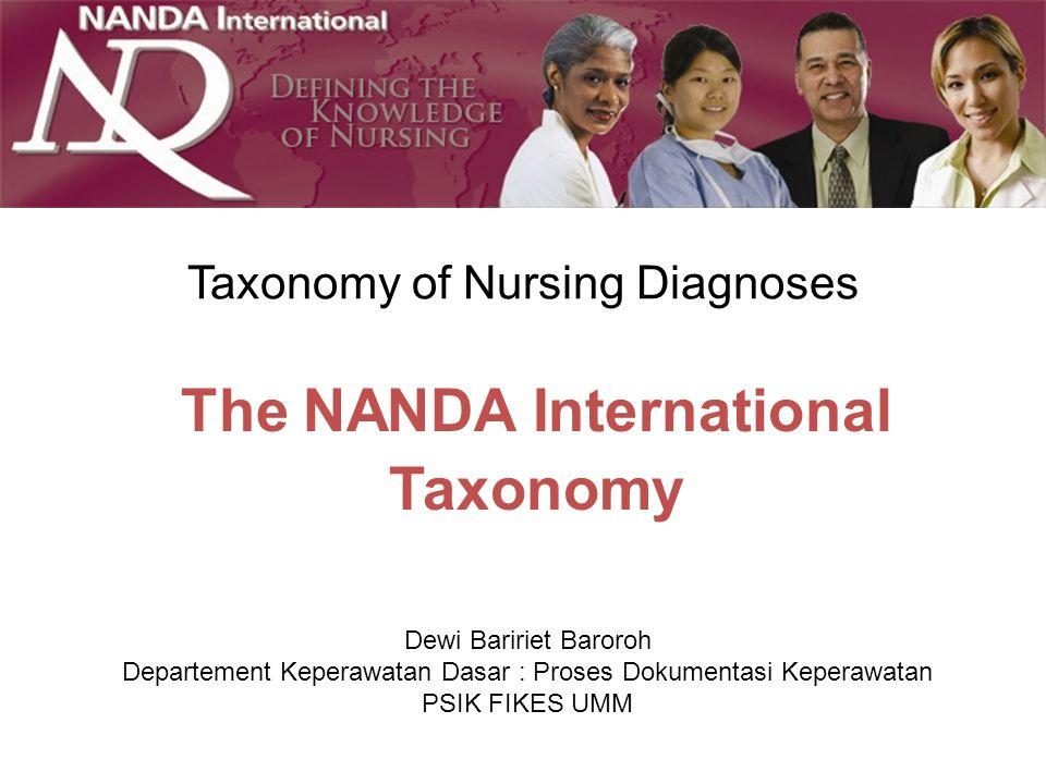 The NANDA International Taxonomy Taxonomy of Nursing Diagnoses Dewi Baririet Baroroh Departement Keperawatan Dasar : Proses Dokumentasi Keperawatan PS